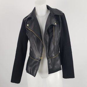 Guess Black & Gold Vegan Leather Jacket Size S